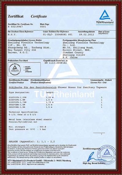 TUV Certificat