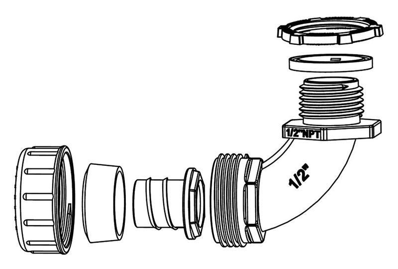 Raccord du tuyau flexible non-métallique en type étanche liquide - Série P53 (UL514B)