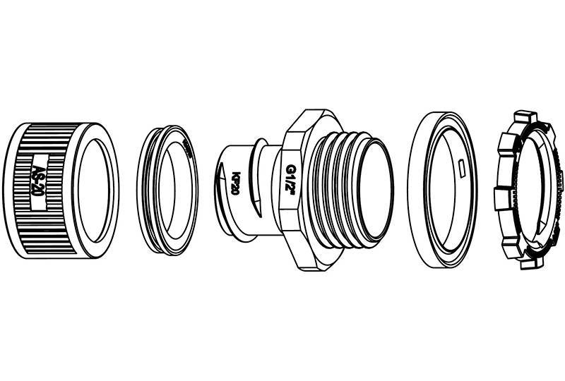 Raccord du tuyau flexible métallique Protection électrique Application imperméable à l'eau - Série AZ09